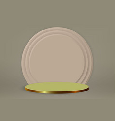 3d minimal scene with gold podium cosmetic vector image