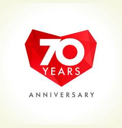 70 anniversary heart logo vector