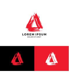 a letter triangle paint blood stroke logo icon vector image