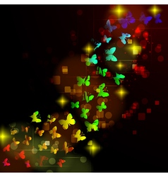 Abstract design with glowing nocturnal butterflies vector