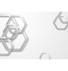 Abstract grey paper tech hexagon shapes background vector