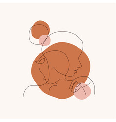 abstract mother with a child in continuous one vector image