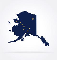 Alaska ak flag in map shape vector