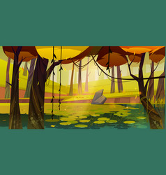 Autumn landscape with swamp in forest vector