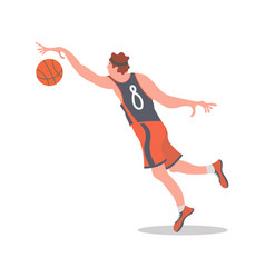 basketball player jumping with a ball vector image