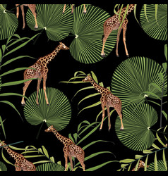 beautiful tropical giraffe seamless pattern vector image