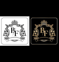 Bf royal emblem with crown initial letter vector
