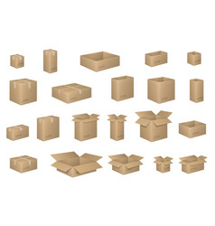 Big set of isometric cardboard boxes isolated on vector
