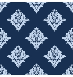Blue floral arabesque damask pattern vector