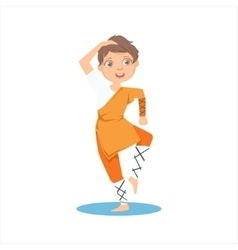 Boy In Shaolin Monk Orange Clothes Demonstrating vector image