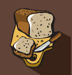 bread loaf and knife on cutting board vector image