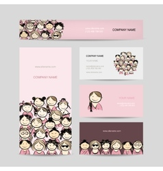 Business cards group of women sketch vector image