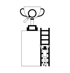businessman climbs stairs with trophy and vector image