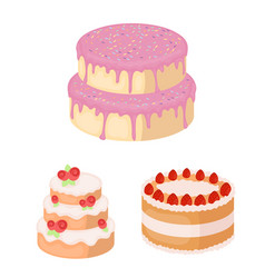 Cake and dessert cartoon icons in set collection vector