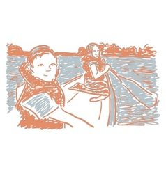 Canoeing children in lake vector