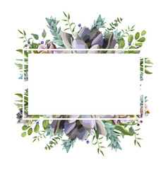 card design with succulent flower plant berry vector image