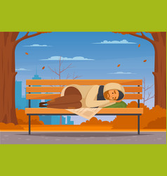 Cartoon homeless people flat composition vector