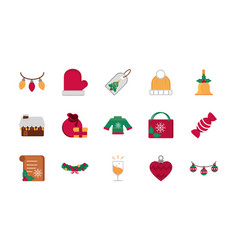 celebration decoration happy christmas icons vector image