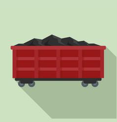Coal train wagon icon flat style vector