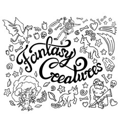 Collection of fantasy doodle arts and lettering vector