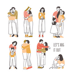 Collection pairs hugging or cuddling people vector