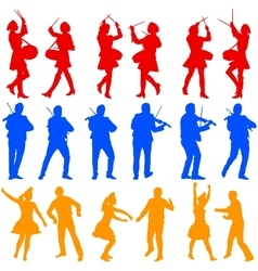 Color silhouettes of beautiful mans and womans vector
