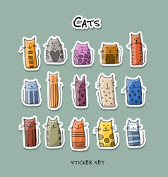 colorful cats sticker set for your design vector image