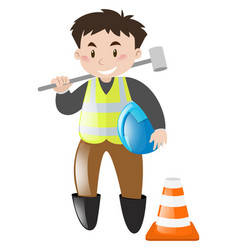 construction worker with tool vector image