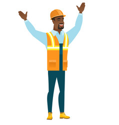 constructor standing with raised arms up vector image