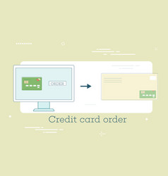 credit card order concept in line art style vector image