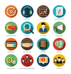CRM Round Icons Set vector