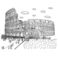 crowd tourist visiting colosseum vector image