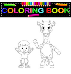 cute boy and giraffe coloring book vector image