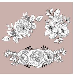 Cute line flowers isolated on light background vector