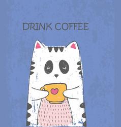 Cute sketch cat with cup of tea vector