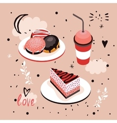 Delicious Food Sweet menu Dessert set Donut Cake vector image vector image