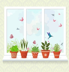 different herbs planted in ceramic pots on a vector image