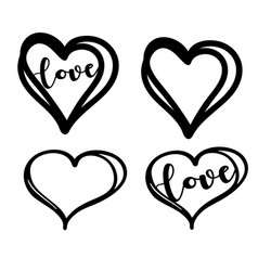 Doodle heart with hand drawn lettering vector