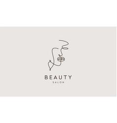 face line art women beauty salon logo design vector image