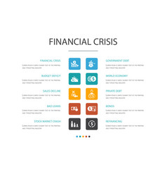 Financial crisis infographic 10 option template vector