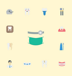 Flat icons halitosis dentition radiology and vector