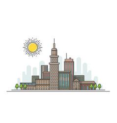 flat line city landscape vector image