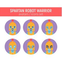 flat spartan robot warrior icon in ancient helmet vector image