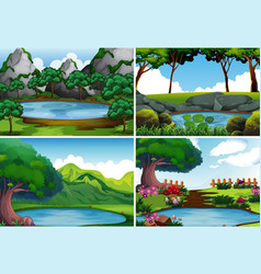 Four background scenes with pond in the park vector