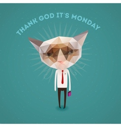 Funny sad cat - thank Got its monday vector image