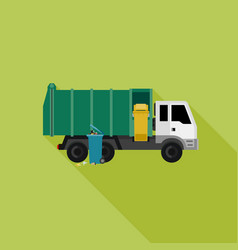 Garbage truck with long shadow vector