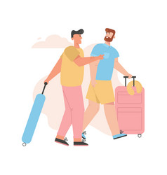gay couple goes on summer vacation trip vector image