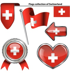 Glossy icons with Switzerland flag vector