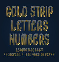 gold strip letters numbers dollar yen pound vector image