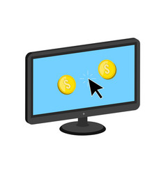 Golden coins jump out of display make money vector